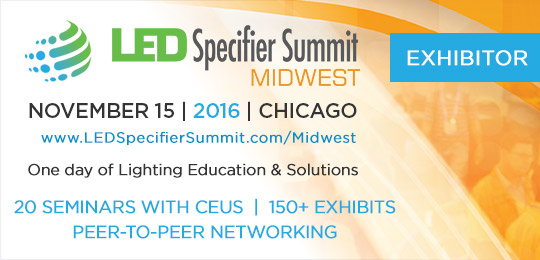 klus led products on display at the led specifier summit midwest