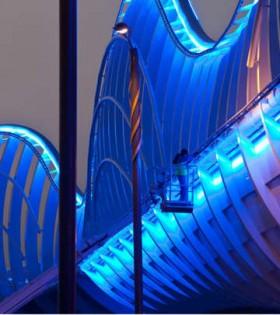 Blue LED's Light Up The Meydan Bridge in Dubai
