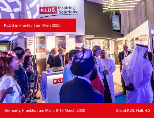 KLUS LED Lighting Products On Display At The 2020 Light + Building Show, in Frankfurt Germany.